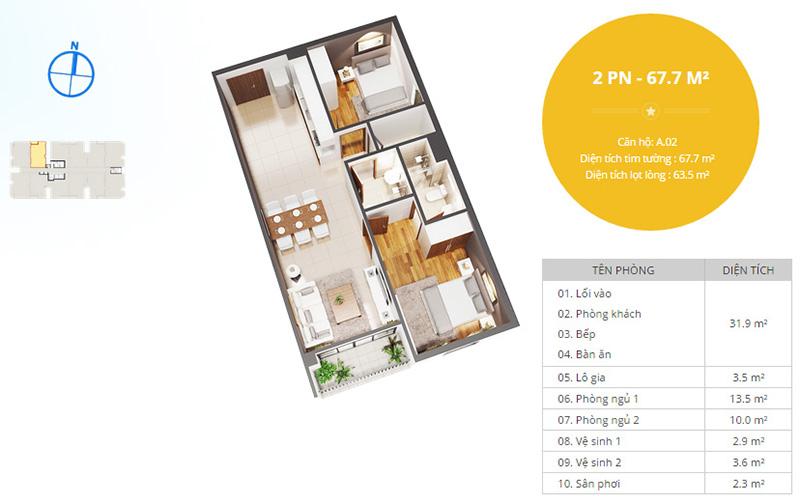 Phối cảnh căn hộ 2 phòng ngủ NBB Garden 3